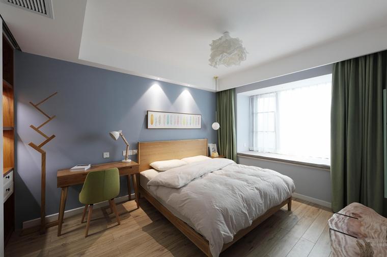 90平北欧风格两居室卧室效果图