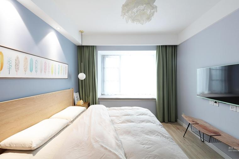 90平北欧风格两居室主卧图片