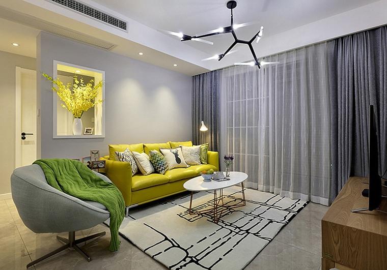 90平美式风格装修客厅装潢图