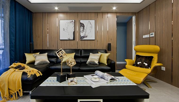 130平三居室装修样板间客厅效果图