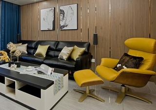 130平三居室装修样板间客厅墙面装饰
