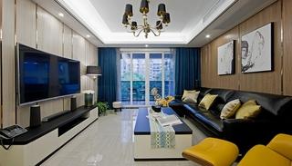 130平三居室装修样板间电视背景墙图片