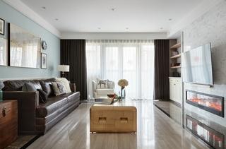 120平两居室复古装修客厅窗帘
