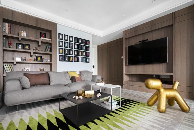 130平简约风格装修客厅地毯