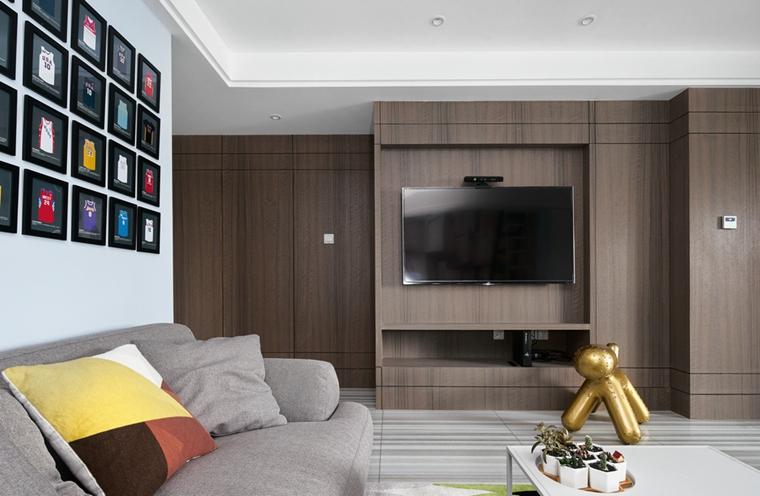 130平简约风格装修电视背景墙