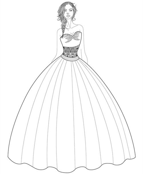 婚纱设计,由上身精致的设计与下身简单的薄纱打造而成,背后由两个缎带