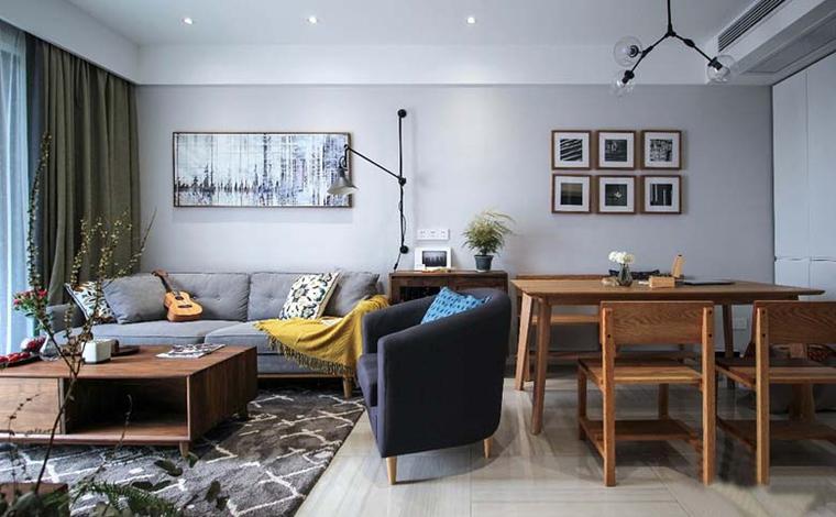 110平简约风格三居室客厅效果图