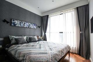 110平简约风格三居室主卧窗帘图片