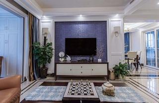 130平美式风格三居室装修客厅效果图