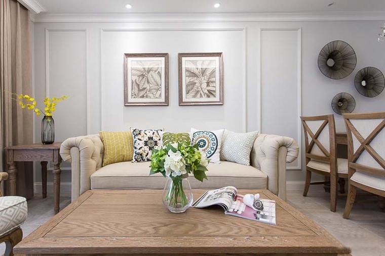 89平美式风格装修布艺沙发图片
