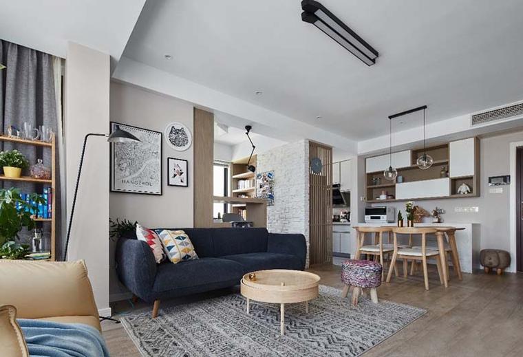 北欧风格三居室装修客厅地毯