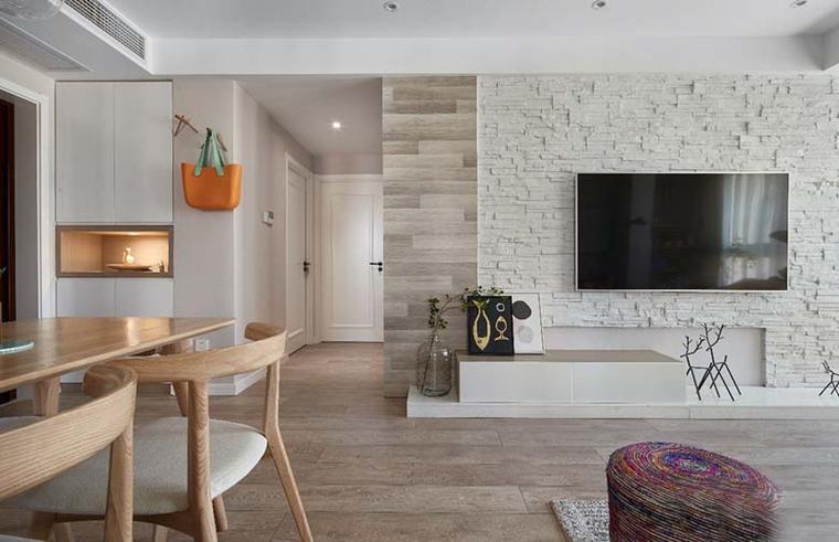 北欧风格三居室装修电视背景墙