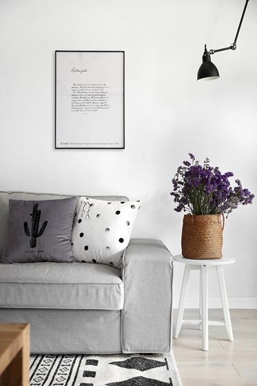 黑白调北欧风格装修客厅绿植