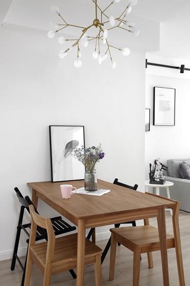 黑白调北欧风格装修餐厅效果图