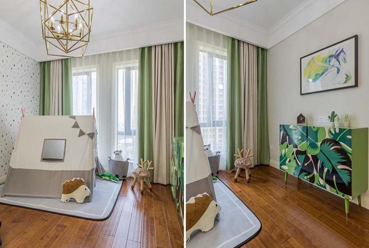 120平美式风格装修儿童房效果图