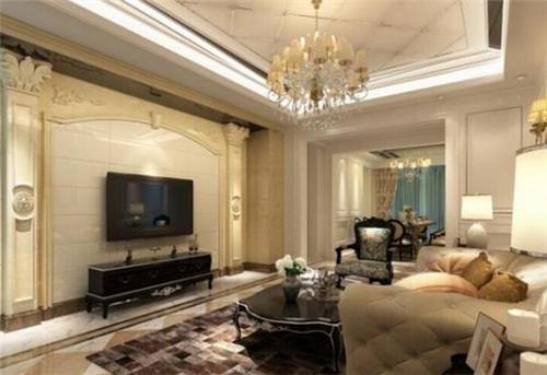 电视墙设计得极为精美,设计师选择的大理石的材质来作为背景墙,搭配上图片