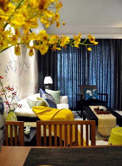100平新中式风格装修客厅窗帘