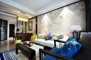 100平新中式风格装修客厅背景墙
