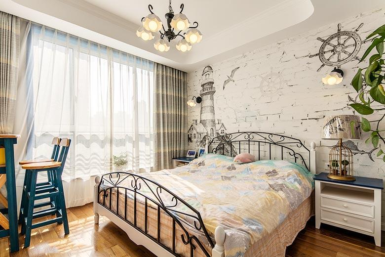 105㎡地中海风格105㎡地中海风格装修卧室实景图