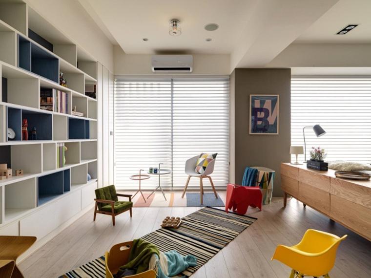 北欧风格三居室装修客厅书柜图片