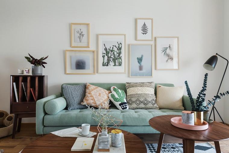 现代原木风三居室装修布艺沙发图片