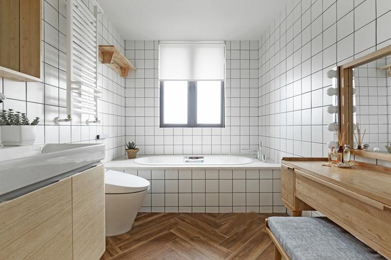 现代原木风三居室装修卫生间效果图