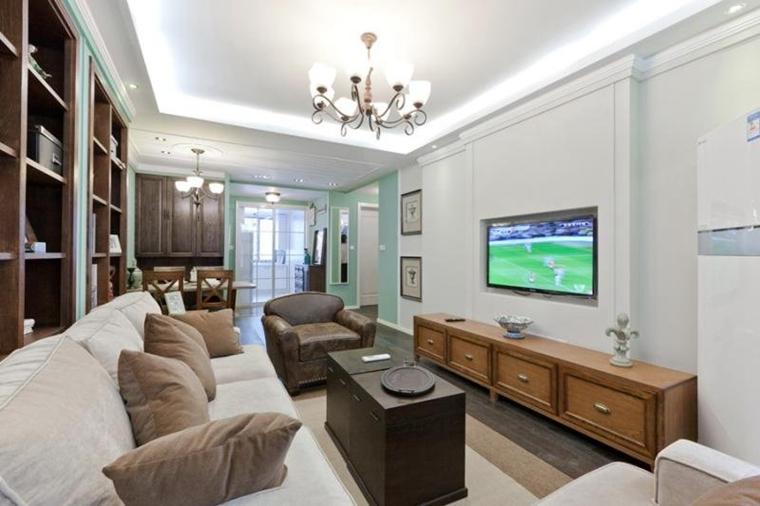 80平清新美式风格装修客厅效果图