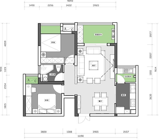 73㎡日式家装设计布置平面图