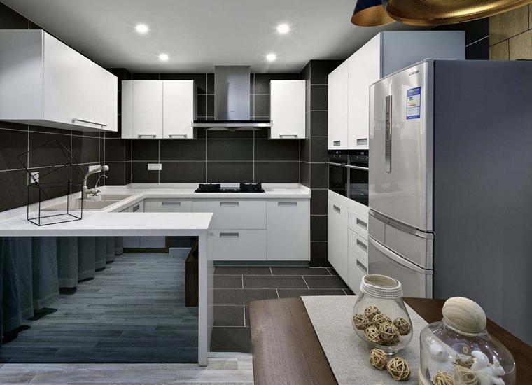 120平现代简约风格装修开放式厨房
