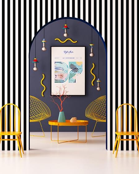 波普风背景墙装饰平面图