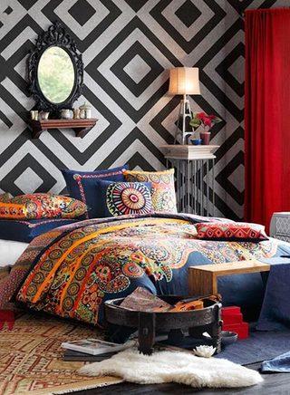 卧室布艺床设计实景图片