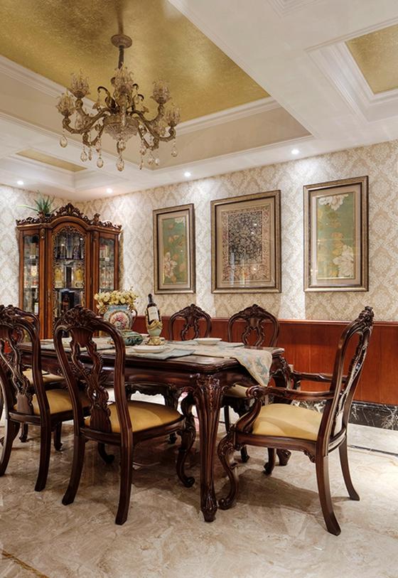 浓墨重彩的欧式风格装修餐厅装潢图