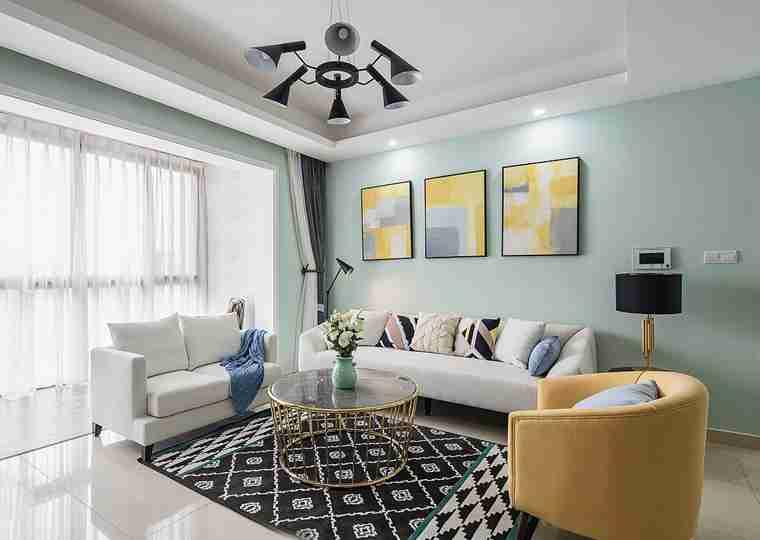 温润如玉的三居室装修客厅效果图