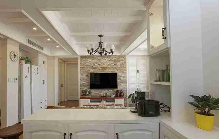 120平三居室装修开放式厨房
