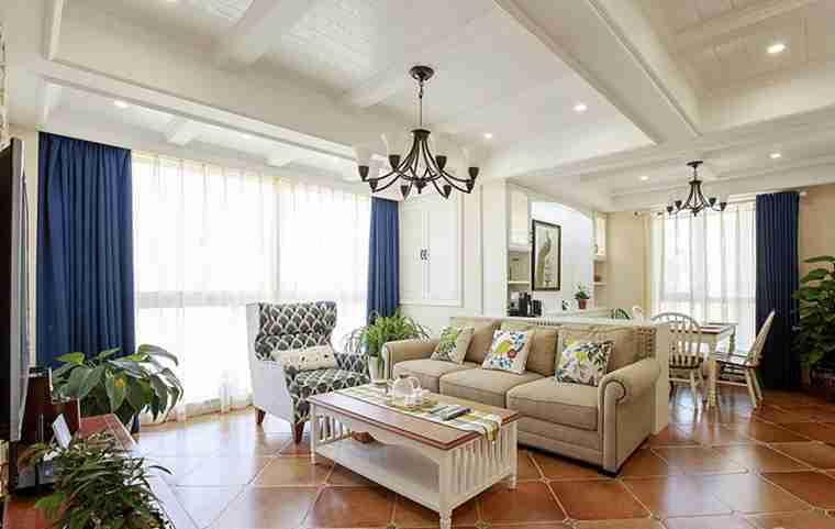 120平三居室装修客厅效果图
