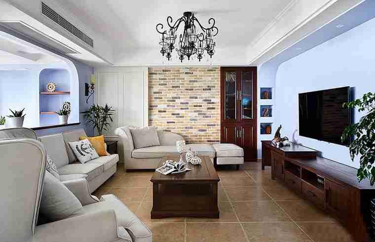 蓝调两居室装修客厅效果图