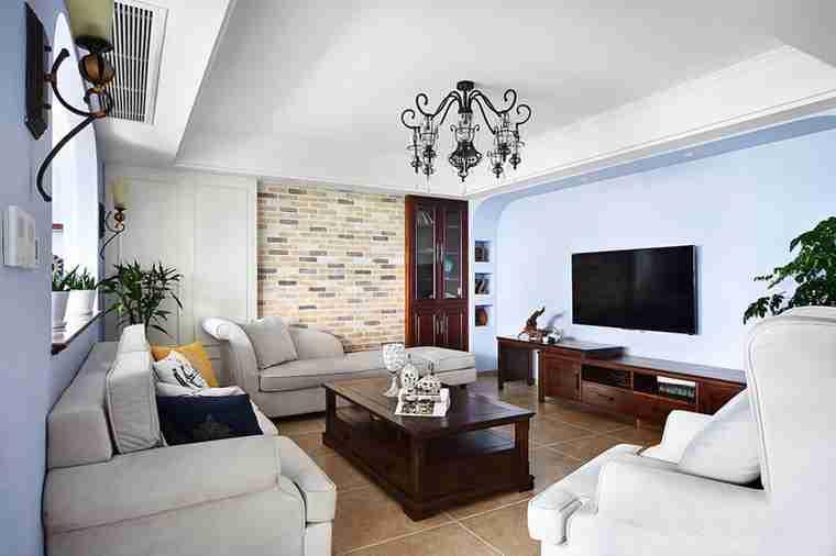 蓝调两居室装修电视背景墙