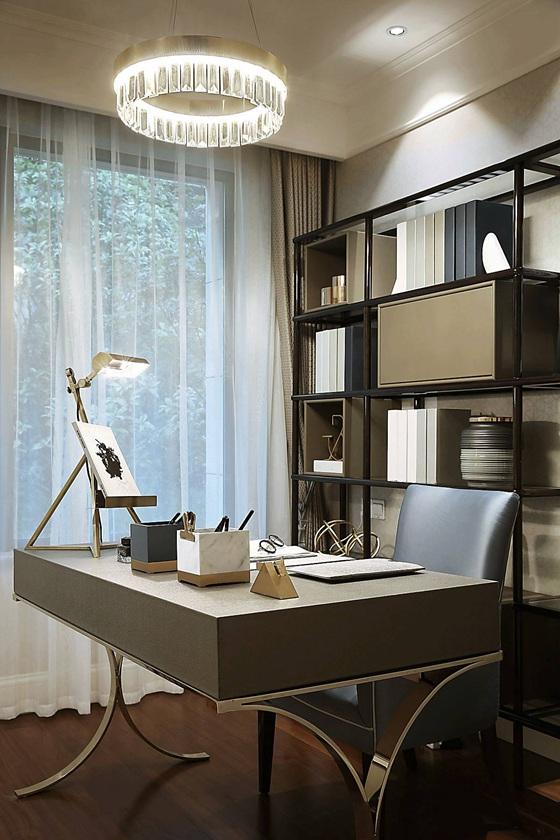 90平法式样板房装修书房效果图