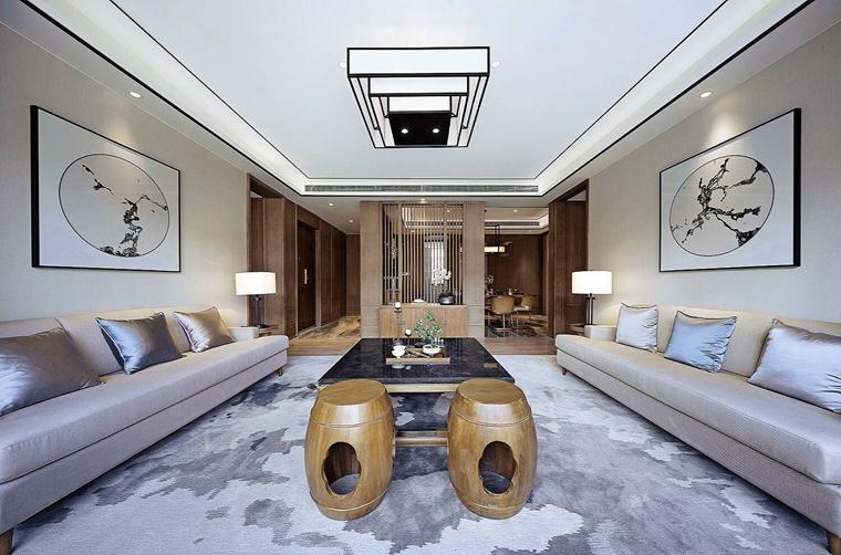 150平新中式风格装修客厅吸顶灯