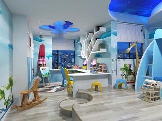 蓝色系儿童房实景图