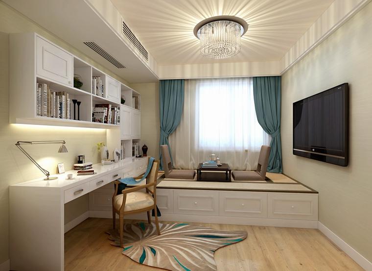 简欧风格客厅精装公寓阳台实用书房榻榻米海外家居