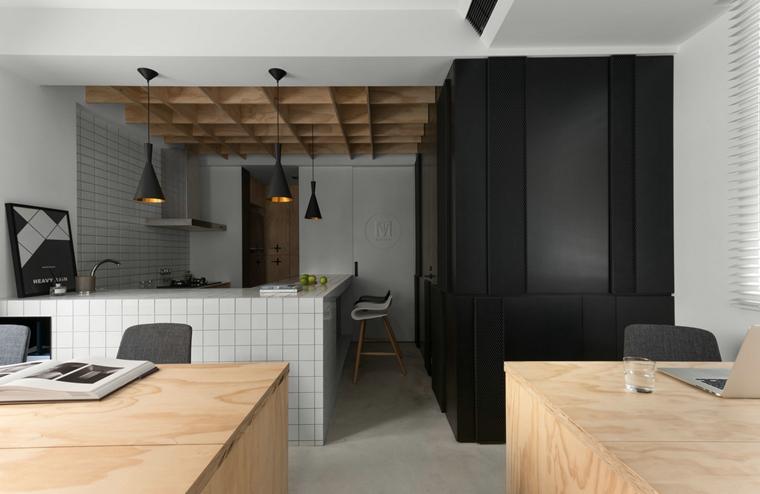 自建房小复式装修开放式厨房效果图