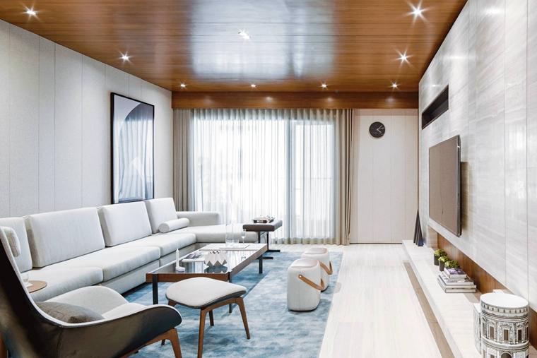 简约风样板房装修客厅地毯图片