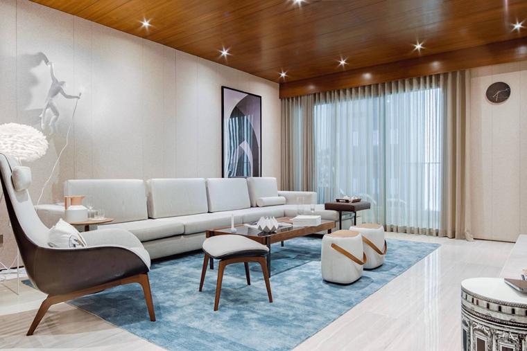 简约风样板房装修客厅窗帘图片