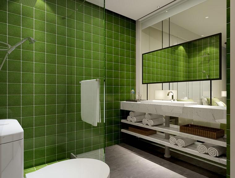 地中海风格绿色卫生间洗手台图片