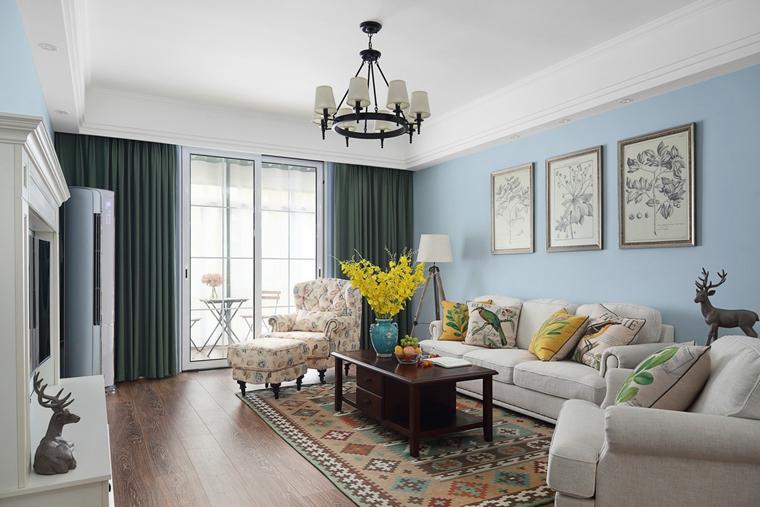 我大爱的美式风格装修客厅背景墙效果图