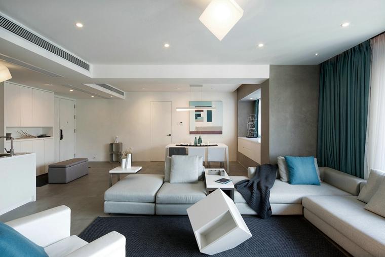 150平简约两居室装修效果图布艺沙发图片