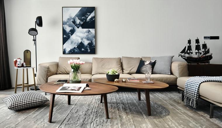 超有范儿黑白灰三居室布艺沙发图片