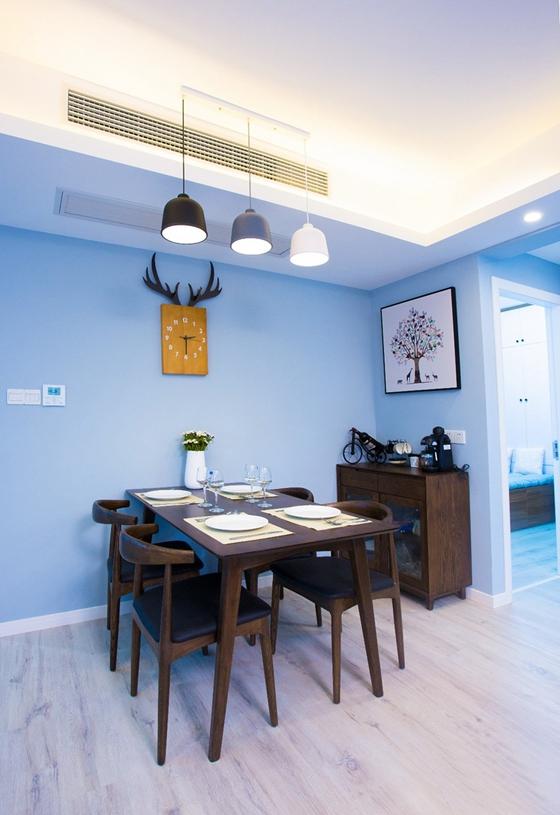 90平蓝调小户型餐厅效果图