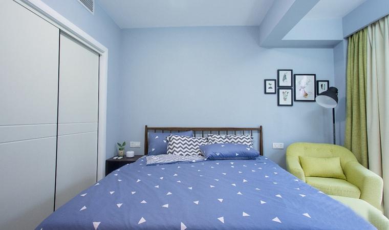 90平蓝调小户型卧室图片